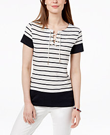 Tommy Hilfiger Striped Lace-Up Top, Created for Macy's