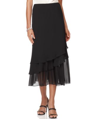 Skirt, Tiered Chiffon Midi