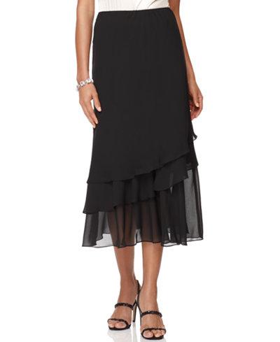 Alex Evenings Skirt, Tiered Chiffon Midi