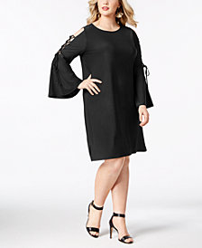 Love Scarlett Plus Size Lace-Up Sleeve Dress