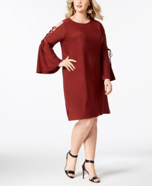 Lace-Up Bell-Sleeve Shift Dress, Plus Size in Purple