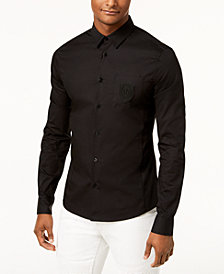 Versace Men's Embroidered Logo Shirt With Pocket