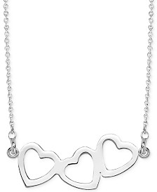 "Sarah Chloe Triple Heart Pendant Necklace, 16"" + 2"" extender"