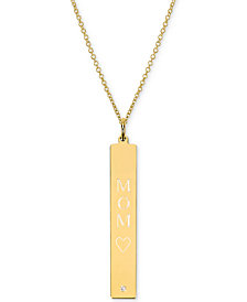 "Sarah Chloe Diamond Accent Mom Bar Pendant Necklace in 14k Gold over Silver, 16"" + 2"" extender (also available in Sterling Silver)"