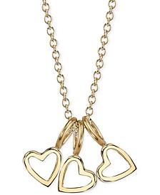 "Triple Heart Charms Pendant Necklace, 16"" + 2"" extender"