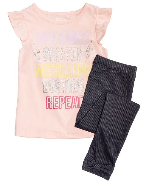 Epic Threads Little Girls Flutter-Sleeve T-shirt & Bow-Trim Leggings , Created for Macy's