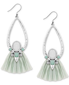 Lucky Brand Silver-Tone Stone & Raffia Drop Earrings