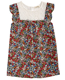 Monteau Big Girls Lace-Trim Floral-Print Trapeze Top