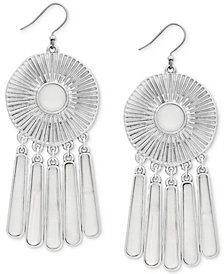 Lucky Brand Silver-Tone Medallion Statement Earrings