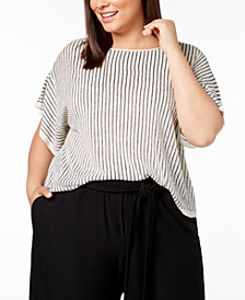 Eileen Fisher Plus Size Organic Linen Striped Short-Sleeve Sweater