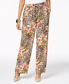 Thalia Sodi Mixed-Print Pull-On Pants, Created for Macy's