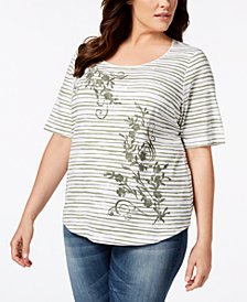 Karen Scott Plus Size Embellished Printed Top, Created for Macy's