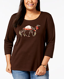 Karen Scott Plus Size Cotton Camel-Graphic T-Shirt, Created for Macy's