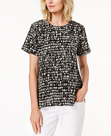 Eileen Fisher Silk Printed Round-Neck Top, Regular & Petite