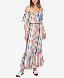 1.STATE Striped Off-The-Shoulder Blouson Maxi Dress