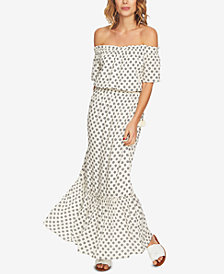 1.STATE Printed Off-The-Shoulder Blouson Maxi Dress