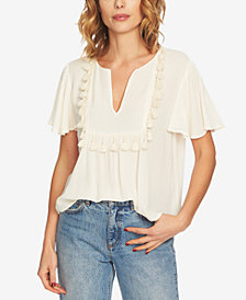1.STATE Split-Neck Tassel Blouse