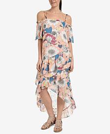 NY Collection Printed Off-The-Shoulder Tulip-Hem Dress