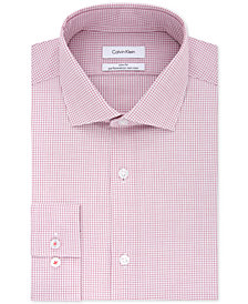 Calvin Klein Men's STEEL Slim-Fit Non-Iron Stretch Performance Red Check Dress Shirt