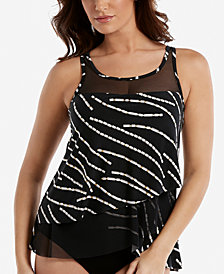 Miraclesuit Chain Reaction Mirage Printed Underwire Tummy-Control Tankini Top