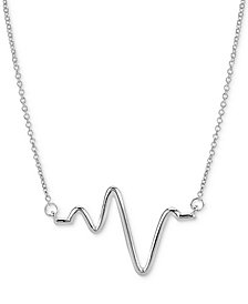"Sarah Chloe Large Heartbeat Pendant Necklace, 16"" + 2"" extender, available in Sterling Silver or 14k Gold Plated Sterling Silver"