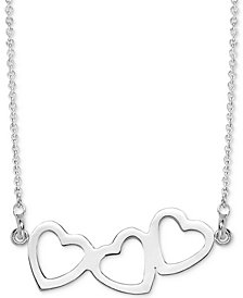"Sarah Chloe Triple Heart Pendant Necklace, 16"" + 2"" extender in 14k white or yellow gold."