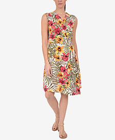 NY Collection Printed Faux-Wrap Surplice Dress