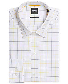 BOSS Men's Sharp-Fit Plaid Cotton Shirt