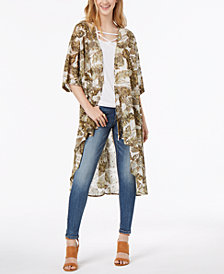Gypsies & Moondust Juniors' Metallic-Print Duster Kimono