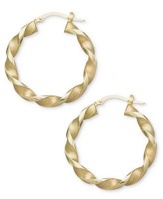 14k Gold Earrings, Small Twisted Hoop Earrings