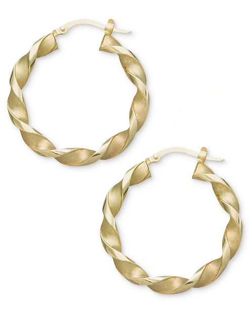 14k Gold Earrings Small Twisted Hoop 4 Reviews Main Image