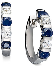 Sterling Silver Earrings, Blue and White Sapphire Channel Set Earrings (3 ct. t.w.)
