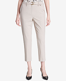 Calvin Klein Belted Straight-Leg Ankle Pants