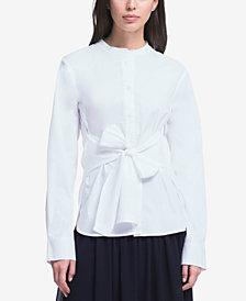 DKNY Mandarin-Collar Tie-Waist Shirt