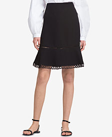 DKNY Flared Crochet-Trim Skirt