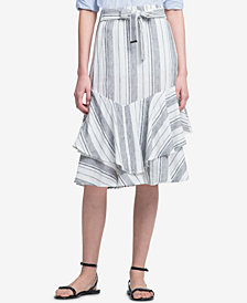 DKNY Striped Ruffled Skirt
