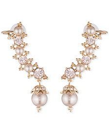 Marchesa Swarovski & Imitation Pearl Ear Climber Earrings