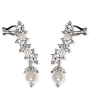 SWAROVSKI & IMITATION PEARL EAR CLIMBER EARRINGS