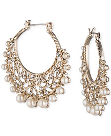"Marchesa Gold-Tone Crystal & Imitation Pearl 1-2/5"" Filigree Hoop Earrings"
