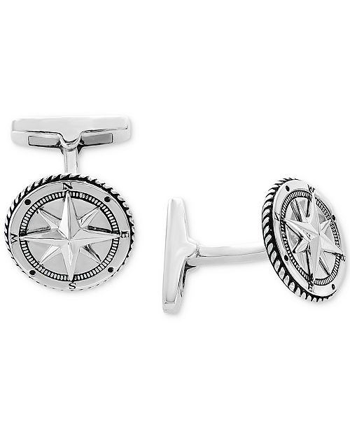 EFFY Collection EFFY® Men's Rope-Style Compass Cuff Links Sterling Silver