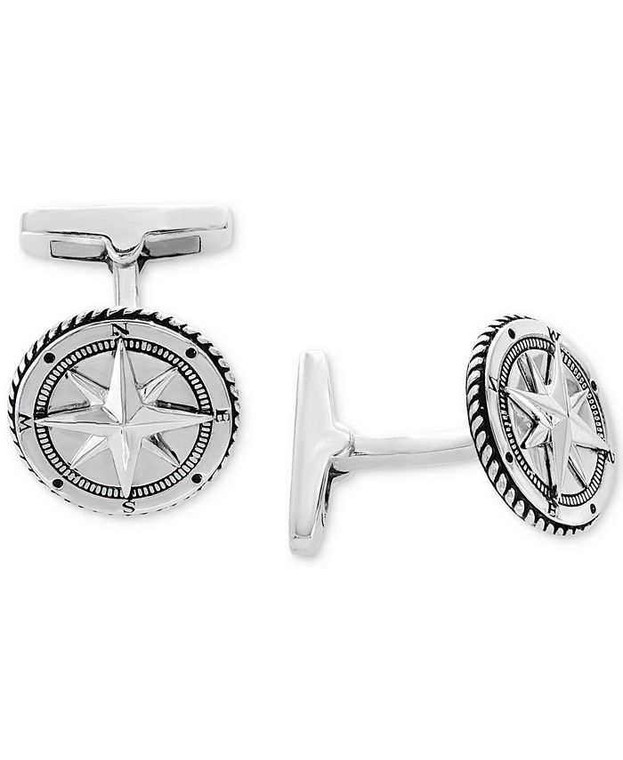 EFFY Collection - Men's Rope-Style Compass Cuff Links Sterling Silver