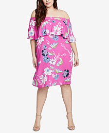 RACHEL Rachel Roy Trendy Plus Size Off-The-Shoulder Dress