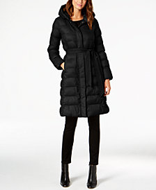 Cole Haan Signature Hooded Belted Lightweight Down Coat