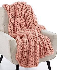 "Lacourte Luxury Heathered Chunky-Knit 50"" x 60"" Throw, Created for Macy's"