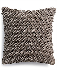 "Lacourte Meli Handwoven Tufted Chevron 20"" Square Decorative Pillow, Created for Macy's"