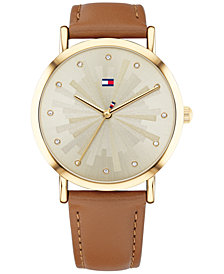 Tommy Hilfiger Women's Brown Leather Strap Watch 36mm Created for Macy's