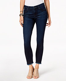Style & Co Petite Frayed-Hem Skinny Ankle Jeans, Created for Macy's