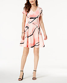 Ivanka Trump V-Neck Printed A-Line Dress