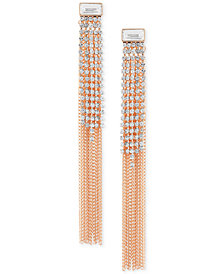 GUESS Rose Gold-Tone Crystal & Chain Fringe Front-and-Back Earrings