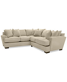 "Ainsley 2-Piece ""L"" Shaped Fabric Sectional with 6 Toss Pillows, Created for Macy's"